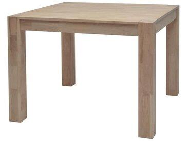 MILES Table à manger carrée de 2 à 4 personnes scandinave en chêne massif abouté huilé - L 100 x l 100 cm