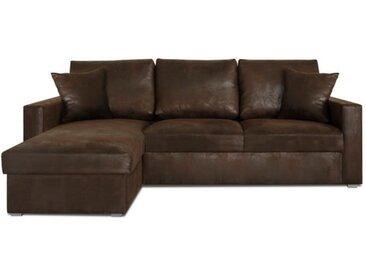 JULES Canapé d'angle réversible convertible 4 places + Coffre de rangement - Tissu marron vieilli - Vintage - L 220 x P 166cm