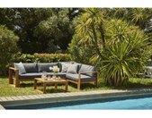 Salon de jardin en bois d'acacia FSC - 5 personnes avec coussins gris anthracite LEVATA