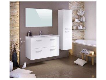 STELLA Ensemble salle de bain simple vasque avec colonne et miroir L 100 cm - Blanc laqué brillant