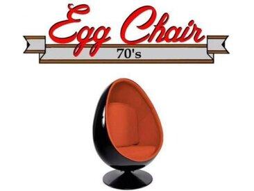 Fauteuil pivotant Oeuf, Egg chair coque noir / intérieur feutrine orange. Design 70's. orange Velours Inside75