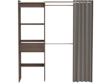 CHICAGO Kit dressing extensible contemporain décor chêne - L 114 - 168 cm