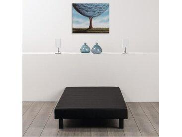 Sommier tapissier à lattes 90 x 190 - Bois massif noir + pieds - DEKO DREAM Rakenne