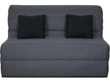 Banquette BZ Dunlopillo - Tissu Gris + 2 coussins noir - L 140 x P 99 x H 98 cm - ALICE
