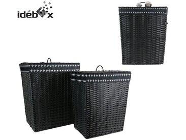 IDEBOX Lot de 2 Coffres à linge effet osier M2 Noir - 68 L et 48 L