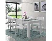 Table à manger 6 personnes - Contemporain - Blanc mat - KOVA - L 160 x l 90 cm x H 74,7 cm