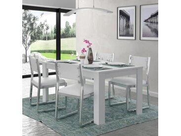KOVA Table à manger 6 personnes contemporain blanc mat - L 160 x l 90 cm