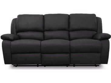 RELAX Canapé de relaxation droit 3 places - Simili noir - Contemporain - L 190 x P 93 cm