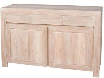 Buffet bas ethnique en bois teck massif blanchi satiné - L 120 cm