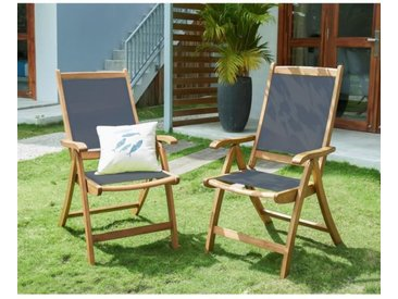 Lot de 2 fauteuils de jardin pliants multi-positions en bois d'acacia FSC et textilène - 58,5 x 75,5 x 109 cm - Gris