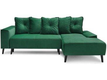 BOBOCHIC Canapé d'angle droit convertible + meridienne - Tissu Vert - L 260 x P 160 x H 95 cm - HERA