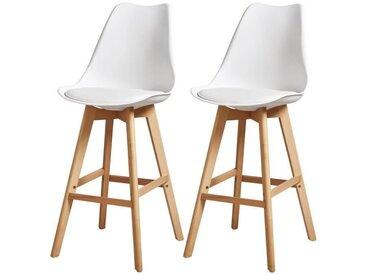 BJORN Lot de 2 tabourets de bar pieds en bois hêtre massif - Revêtement simili PU blanc - Scandinave - Assise H 75cm