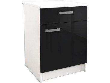 START Caisson bas de cuisine avec plan de travail L 60 cm - Noir haute brillance