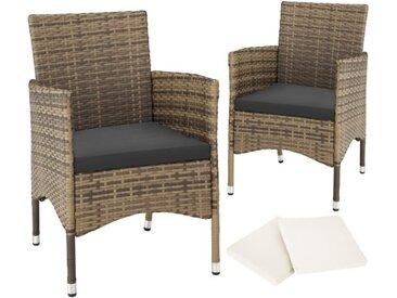 Lot de 2 fauteuils de jardin acier avec 2 sets de housses - marron naturel