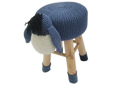 ANE Pouf enfant tissu crochet bleu et blanc – Pieds en bois pin massif – Style contemporain – L 27 x P 35 cm
