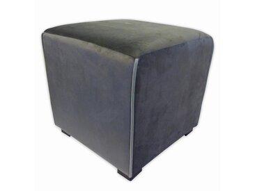 Pouf carré velours Harry - 35 x 35 cm - Gris anthracite avec passepoil gris clair