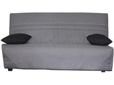 OPS 100% FRANCAIS - GALA Banquette Clic clac - Tissu Gris - Couchage quotidien - L190 x P95 x H98 cm