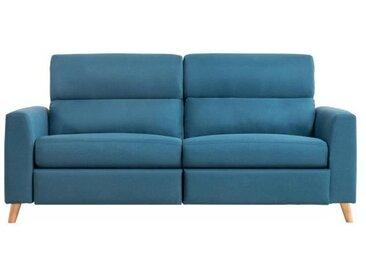 MINT Canapé Relaxation 3 places manuel - Tissu bleu - L 192 x P 87 x H 91 cm