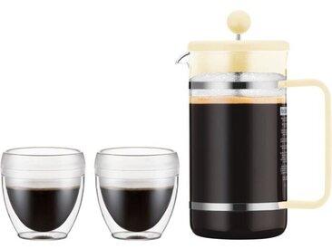 BODUM BISTRO SET Cafetière à piston Pavina Outdoor - 8 tasses - 1 L + 2 gobelets 0,25 L - Jaune pastel