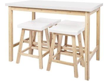CORA Ensemble Table à manger haute + 4 Tabourets - Laqué blanc et pieds en bambou - L 120 x P 70 x H 90.5 cm + L 38 x P 30 x H 60 cm
