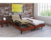 Ensemble relaxation TALCA matelas + sommiers électriques décor cerisier 2x70x190 - Mousse - 14 cm - Ferme