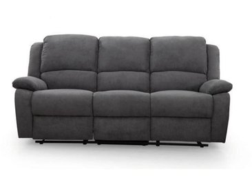 RELAX Canapé de relaxation droit 3 places - Tissu gris - Contemporain - L 190 x P 93 cm