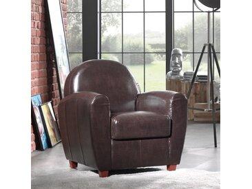 Fauteuil CLUB BUFALLO en polyuréthane vintage marron marron Similicuir Inside75