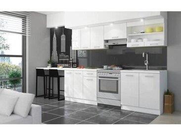 ULTRA Cuisine complète avec plan de travail L 2m40 - Blanc laqué brillant