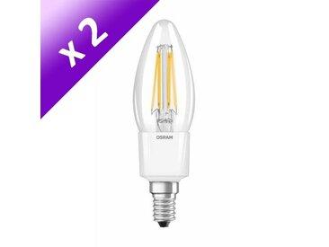 OSRAM Lot de 2 Ampoules filament LED E14 5 W équivalent à 40 W blanc chaud dimmable variateur