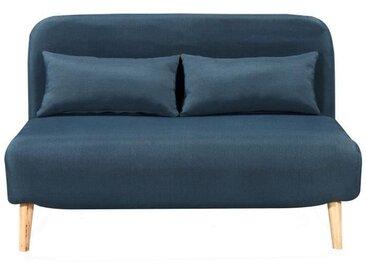 BEDZ Banquette BZ 2 places - Tissu bleu pétrole - Scandinave - L 132 x P 90 cm