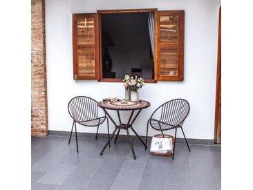 Table de jardin ronde 2 personnes- table diam. 80cm structure acier et mosaïque en céramique