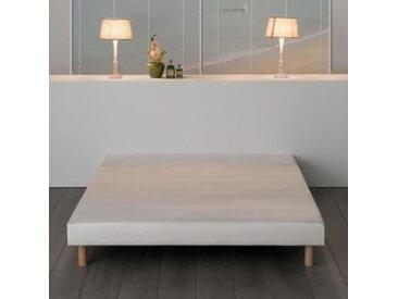 Sommier tapissier à lattes 140 x 200 - Bois massif blanc + pieds bois verni clair - FINLANDEK Rakenne