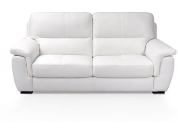 MODENA Canapé Cuir 3 places - Blanc - Made in Italy - L 210 x P 96 x H 96 cm