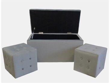 Banc coffre + 2 Poufs velours Chester - 85 x 44 cm et 35 x 35 cm - Gris clair