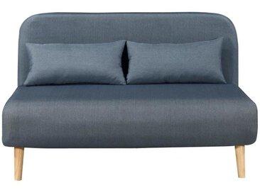 BEDZ Banquette BZ 2 places - Tissu bleu acier - Scandinave - L 132 x P 90 cm