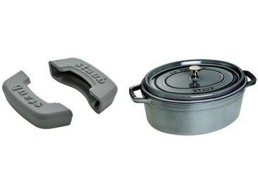STAUB 405093690 Cocotte ovale - 37 cm - Gris graphite + 405113620 Lot de 2 maniques rectangulaires en silicone