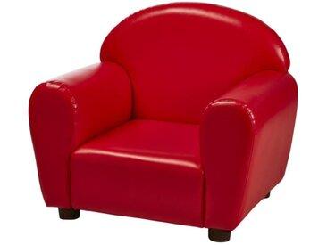 Fauteuil club enfant - Simili rouge - Contemporain - L 50 x P 40 cm
