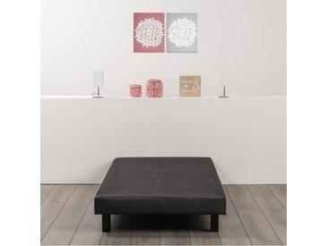 Sommier tapissier à lattes 90 x 190 - Bois massif gris anthracite + pieds - DEKO DREAM Rakenne