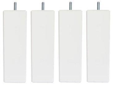 Jeu de pieds carrés L 6 cm x l 6 cm H 17 cm - Blanc - Lot de 4