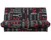 Banquette clic clac 120 x 190 cm - Tissu noir et rouge - L 195 x P 90 x H 84 cm - WORDING - Made in France