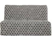 DUNLOPILLO Banquette BZ 140 x 190 - Tissu gris - L 149 x P 55 x H 43 cm - Made in France - CHARLINE