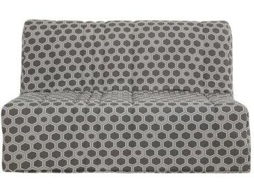 DUNLOPILLO Banquette BZ 140 x 190 - Tissu gris - L 149 x P 55 x H 43 cm - Made in France