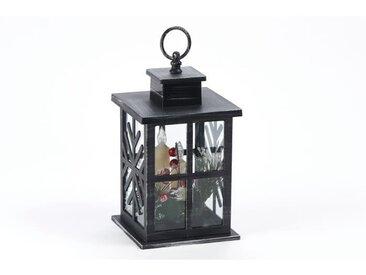 Lanterne déco noire avec 3 bougies LED en PVC - H 28 cm - Blanc chaud