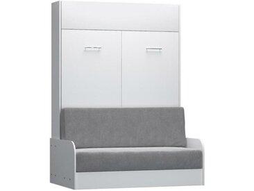 Armoire lit escamotable DYNAMO SOFA canapé accoudoirs blanc mat et microfibre gris couchage 140*200 cm blanc Microfibre Inside75