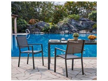 Lot de 2 fauteuils de jardin en aluminium assise textilène - 57 x 56 x 87 cm - Gris