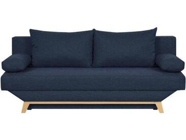 TEIJO Banquette convertible 3 places avec coffre de rangement - Tissu Bleu - L 190 x P 84 x H 92 cm