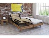 Ensemble relaxation TALCA matelas + sommiers électriques décor chêne clair 2x70x190 - Mousse - 14 cm - Ferme