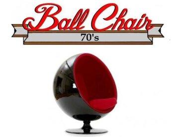 Fauteuil boule, Ball chair coque noir / intérieur feutrine rouge. Design 70's. rouge Velours Inside75