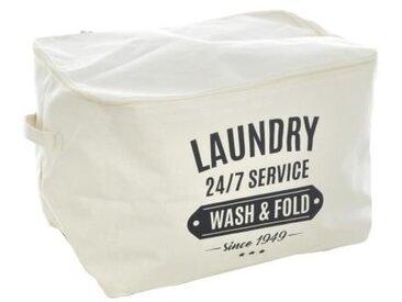 Panier de rangement avec fermeture éclair + anses - 38 x 26 x 26 cm - Motif Laundry