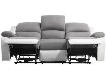 RELAX Canapé de relaxation électrique 3 places - Simili blanc et tissu gris - Contemporain - L 190 x P 93 cm